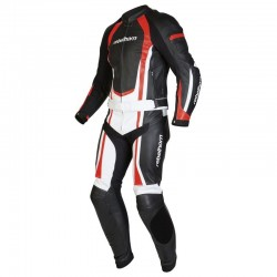 REBELHORN PISTON II STROKE II BLACK/WHITE/FLO RED LEATHER SUIT