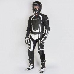 REBELHORN PISTON II STROKE II BLACK/WHITE LEATHER SUIT