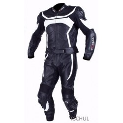 TSCHUL 725 BLACK-WHITE LEATHER SUIT