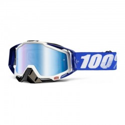 100% RACECRAFT COBALT BLUE GOGGLES - MIRRORED LENS