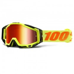 100% RACECRAFT ATTACK YELLOW GOGGLES - MIRRORED LENS