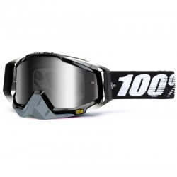 100% RACECRAFT ABYSS BLACK GOGGLES - MIRRORED LENS