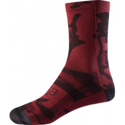 FOX LADY 8 PRINT DARK RED SOCKS
