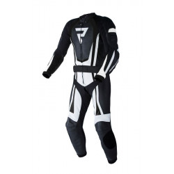 REBELHORN PISTON II PRO BLACK/WHITE LEATHER SUIT 2PC