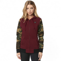 BLUZA FOX LADY Z KAPTUREM NA ZAMEK EVERGLADE CAMO CRANBERRY