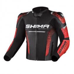 SHIMA STR 2.0 BLACK RED LEATHER JACKET