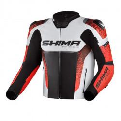 SHIMA STR 2.0 BLACK RED FLUO LEATHER JACKET