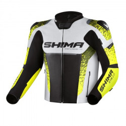 SHIMA STR 2.0 BLACK YELLOW FLUO LEATHER JACKET