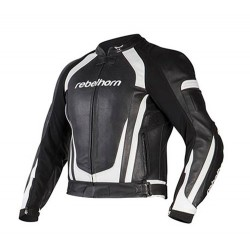 REBELHORN PISTON II BLACK/WHITE LEATHER JACKET
